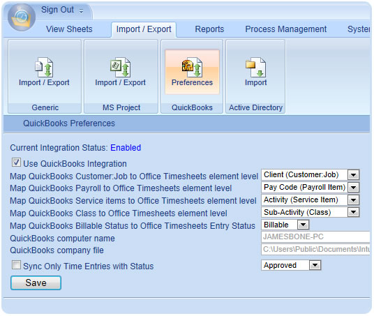 Time Tracking Preference Setting for QuickBook in Office Timesheets